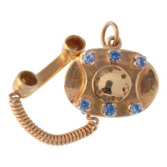 Vintage 14 Karat Yellow Gold Diamond and Sapphire Phone Charm