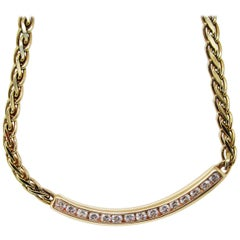 Vintage 14 Karat Yellow Gold Diamond Bar Necklace