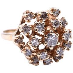"""Vintage 14 Karat Yellow Gold Diamond Cluster Ring, """"1960s"""""""