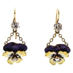 Vintage 14 Karat Yellow Gold Diamond Enamel Converted Pansy Flower Earrings
