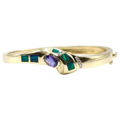 Vintage 14 Karat Yellow Gold Diamond, Opal and Tanzanite Hinged Bangle Bracelet