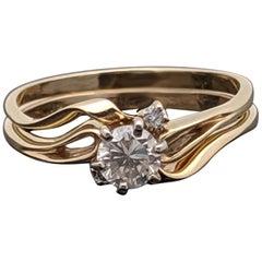 Vintage 14 Karat Yellow Gold Diamond Ring and Band