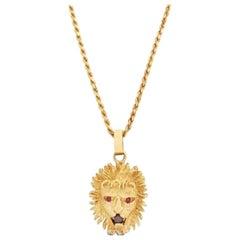 Vintage 14 Karat Yellow Gold Diamond Ruby Lion's Head Pendant