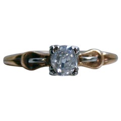 Vintage 14 Karat Yellow Gold Diamond Solitaire Ring by Art Carved, 0.50 Carat