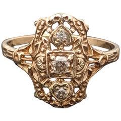 Vintage 14 Karat Yellow Gold Edwardian Navette Diamonds Ring