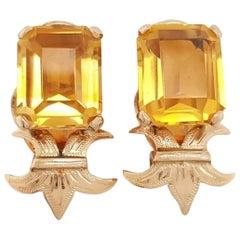 Vintage 14 Karat Yellow Gold Emerald Step Cut Citrine Ear Clips Earrings