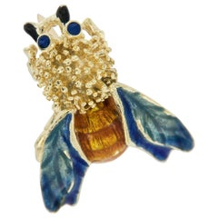 Vintage 14 Karat Yellow Gold Enamel Bee Pin