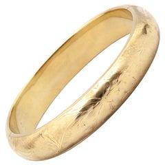 14 Karat Yellow Gold Etched Bangle Clamper Bracelet