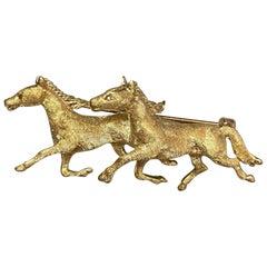 Vintage 14 Karat Yellow Gold Equestrian Horse Pin