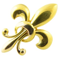 Vintage 14 Karat Yellow Gold Fleur-de-Lis Brooch / Pin #4371