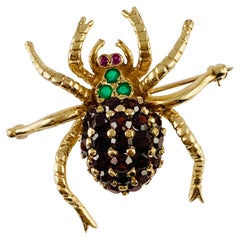 Vintage 14 Karat Yellow Gold Garnet Emerald and Ruby Spider Brooch Pin