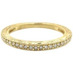 Vintage 14 Karat Yellow Gold Hang Engraved 0.13 Carat Round Diamond Wedding Band