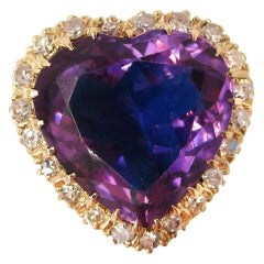 Vintage 14 Karat Yellow Gold Heart Shaped Amethyst and Diamond Midcentury Ring