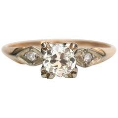 Vintage 14 Karat Yellow Gold Illusion Head Solitaire Engagement Ring