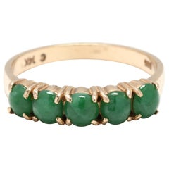 Vintage 14 Karat Yellow Gold Jade 5 Stone Stackable Band Ring