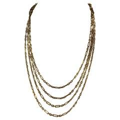 Vintage 14 Karat Yellow Gold Multi Strain Link Chain 63 Grams