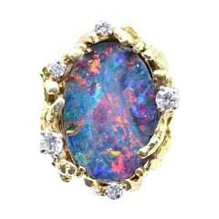 """Vintage 14 Karat Yellow Gold Opal """"Doublet"""" and Diamond Ring, Containing"""