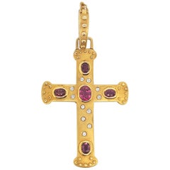Vintage 14 Karat Yellow Gold Oval Ruby and Diamond Cross Pendant