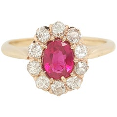 Vintage 14 Karat Yellow Gold Oval Ruby and Diamond Ring