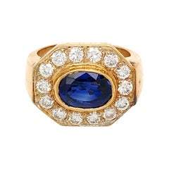 Vintage 14 Karat Yellow Gold Oval Sapphire and Diamond Ring