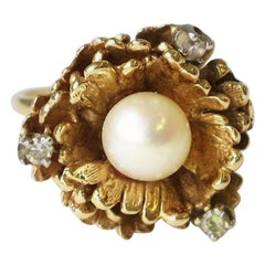 Vintage 14-Karat Yellow Gold Pearl and Diamond Cocktail Ring, circa 1960s