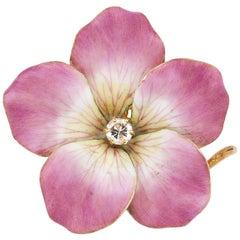 Vintage 14 Karat Yellow Gold Pink Enamel Flower Pendant Brooch