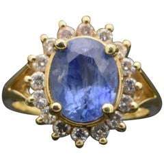 Vintage 14 Karat Yellow Gold Ring with Sapphire and Diamonds