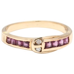Vintage 14 Karat Yellow Gold Ruby and Diamond Buckle Stackable Band Ring