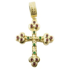 Vintage 14 Karat Yellow Gold Ruby and Emerald Cross Pendant #4351