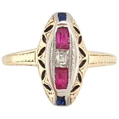 Vintage 14 Karat Yellow Gold Ruby Sapphire and Diamond Antique Navette Ring