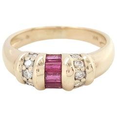 Vintage 14 Karat Yellow Gold Ruby with Diamonds Band Ring