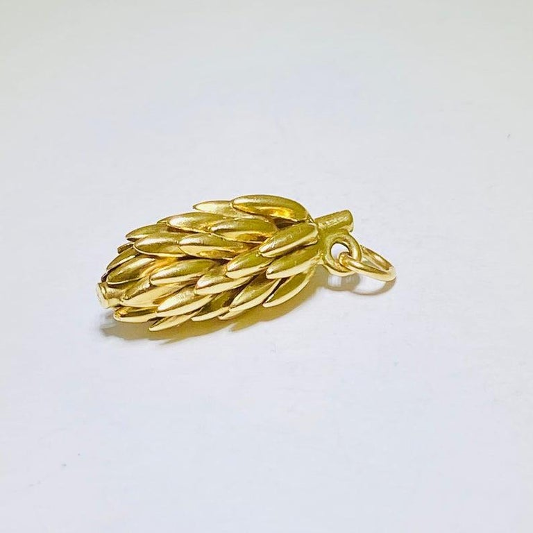 This vintage 14k yellow gold charm is a great piece for any banana or South America lover!! It is 3D made from 14 karat yellow gold and weighs 3.65 grams. It is 1 x .4 inches and the banana design is three dimensional. It is a vintage handmade piece