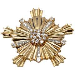 Vintage 14 Karat Yellow Gold Starburst Cross Pendant Brooch 36 Diamonds