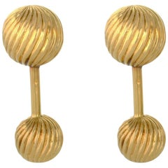 Vintage 14 Karat Yellow Gold Tiffany Barbell Cufflinks