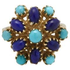 Vintage 14 Karat Yellow Gold Turquoise and Lapis Ring