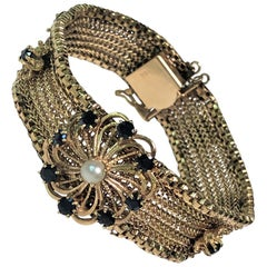 Vintage 14 Karat Yellow Sapphire Pearl Mesh Bracelet