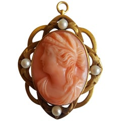 Vintage 14 Karat Yellow Solid Gold Cameo Pin/Pendant, White Natural Pearls