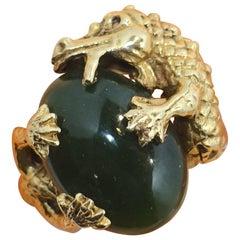 Vintage 14 Kt Gold Alligator and Jade Ring, Size 7-1/2
