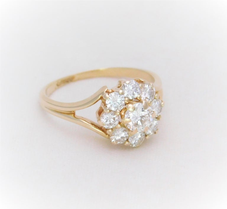 Vintage 1 40 Carat Diamond Halo Cluster Cocktail Ring For Sale At