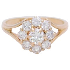 Vintage 1.40 Carat Diamond Halo Cluster Cocktail Ring
