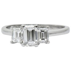 Vintage 1.40 Carat Diamond Platinum Emerald Cut Engagement Ring