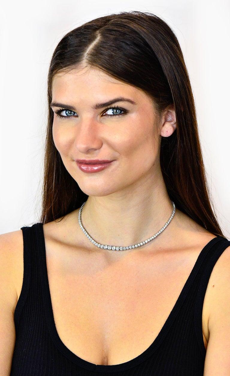 Vintage 14.00 Carat Graduated Diamond Platinum Riviera Necklace For Sale 6