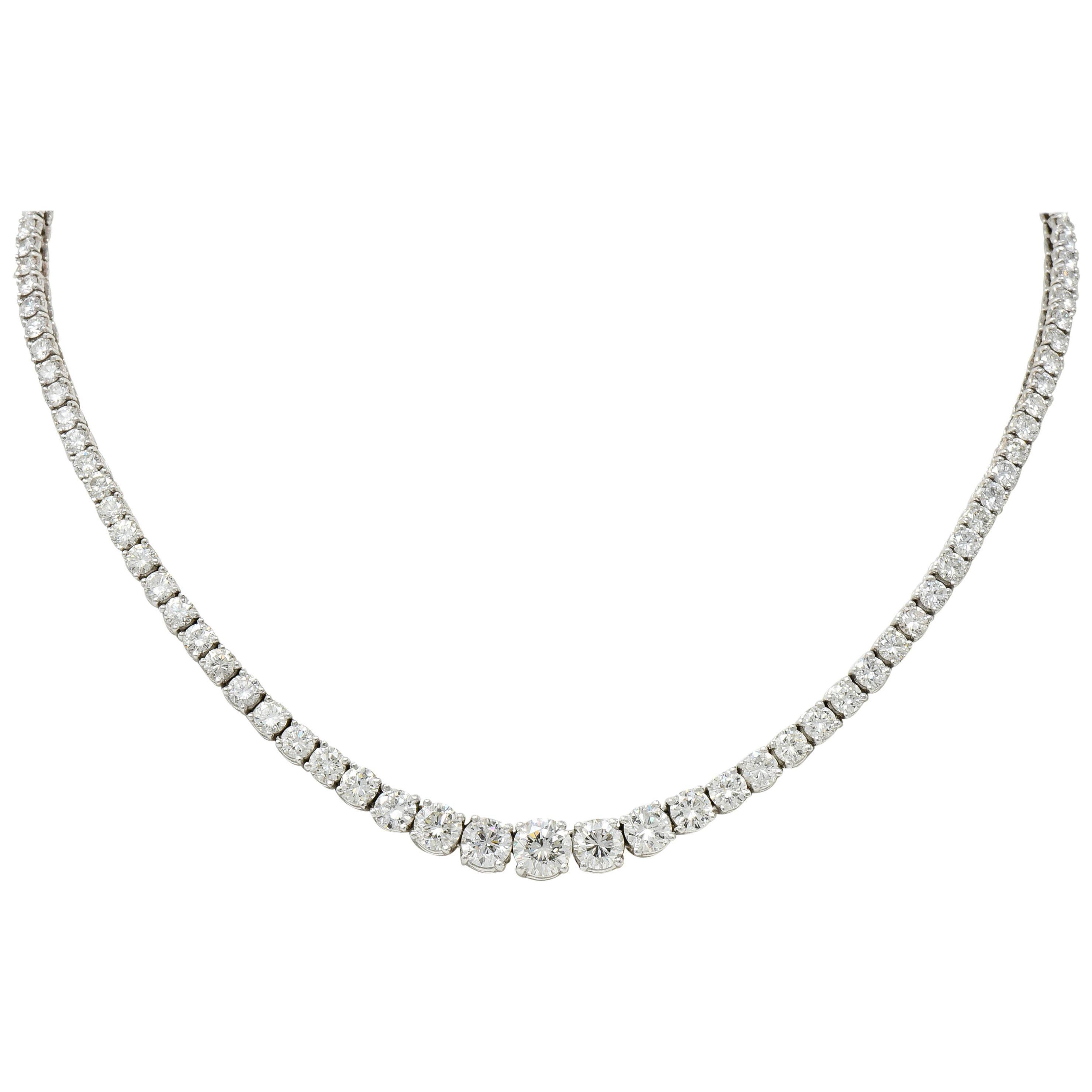 Vintage 14.00 Carat Graduated Diamond Platinum Riviera Necklace