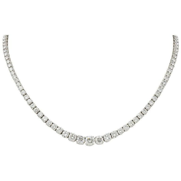 Vintage 14.00 Carat Graduated Diamond Platinum Riviera Necklace For Sale