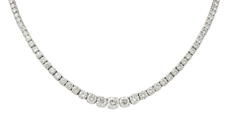 Vintage 14.00 Carat Graduated Diamond Platinum Riviera Necklace For Sale 4
