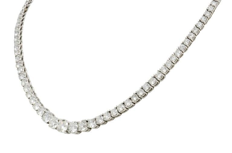 Contemporary Vintage 14.00 Carat Graduated Diamond Platinum Riviera Necklace For Sale