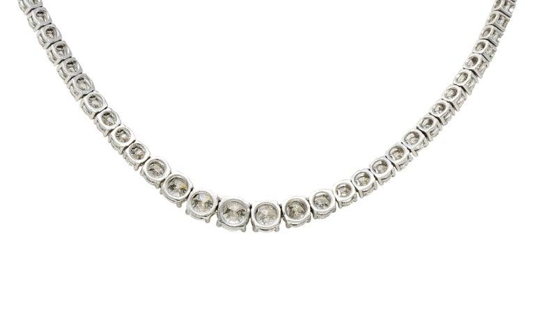 Brilliant Cut Vintage 14.00 Carat Graduated Diamond Platinum Riviera Necklace For Sale