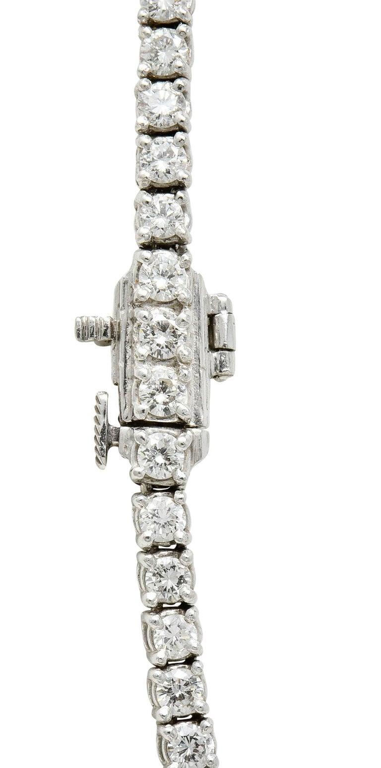 Vintage 14.00 Carat Graduated Diamond Platinum Riviera Necklace For Sale 1
