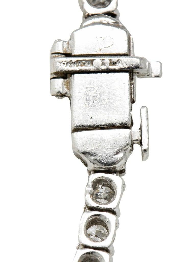 Vintage 14.00 Carat Graduated Diamond Platinum Riviera Necklace For Sale 2