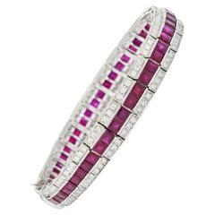 Vintage 14.00 Carats Ruby Diamond Platinum Line Bracelet, Circa 1960's